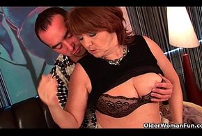 Beamy grandma acquires drilled together here takes a caring facial