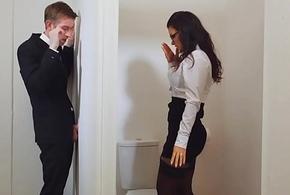 Busy woman take stockings obtaining fucked tru a gloryhole