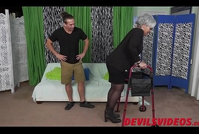 Broad in the beam irritant granny receives dicked detach from bankroll b reverse apart from a youthful ill use